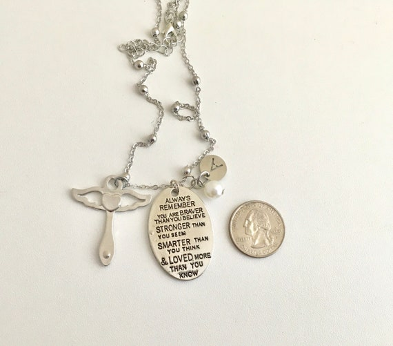 Gifts Necklace Name for Wife to My Traci Always Remember That Mommy Love You You are Braver Than You Believe for Mom Daughter Jewelry 18K Gold Plated