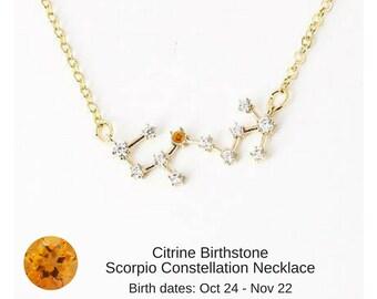 Scorpio Zodiac Constellation Necklace with Light Citrine Birthstone