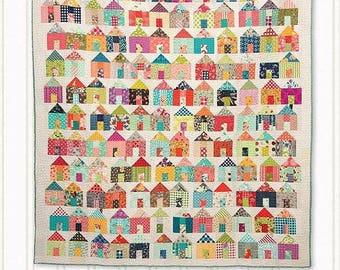 Village Quilt Pattern - Jumble Miss Rosie's Quilt Co #RQC701 - Charm Pack Quilt Pattern - House Quilt Pattern