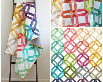 Ombre Weave Quilt Pattern - V and Co #VC1251 - Modern Quilt Pattern - Jelly Roll Friendly Quilt Pattern