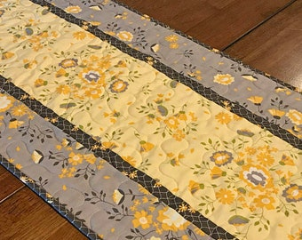 Yellow and Gray Floral Table Runner, Modern Gray Quilted Table Runner, Quilted Spring Table Runner, Yellow Floral Table Runner