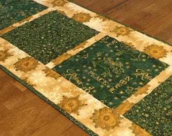 Green and Gold Christmas Table Runner, Quilted Christmas Table Runner, Holiday Table Runner, Christmas Table Decor, Christmas Quilt