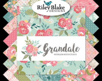"""Grandale 5"""" Stacker Charm Pack - Riley Blake Designs 5-7120-42 - 5"""" Pre-Cut Fabric Squares - Pink and Green Floral Charm Pack"""