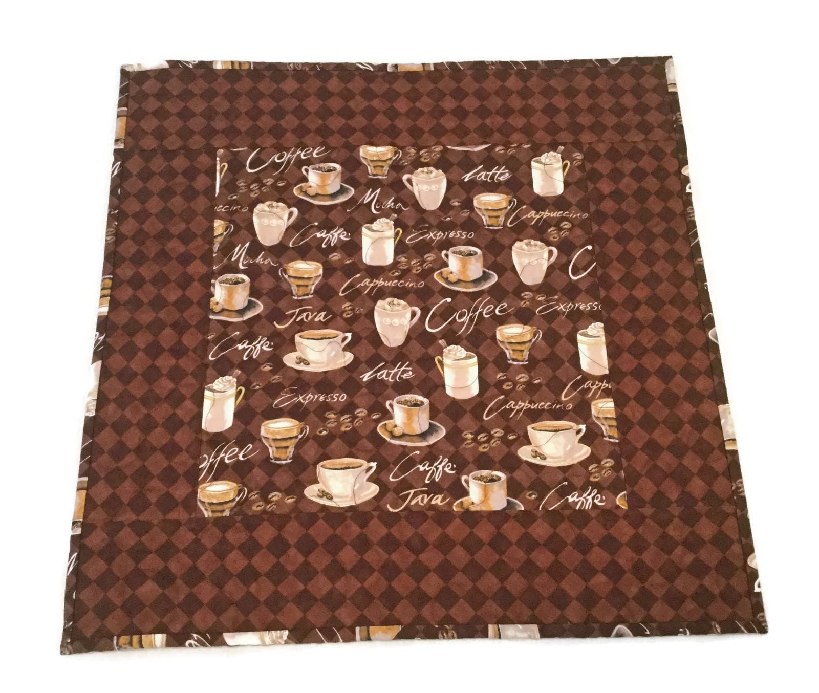 Coffee Themed Table Topper, Coffee Decor, Quilted Table Topper, Brown Table  Topper, Coffee Bar Topper, Coffee Lover Gift
