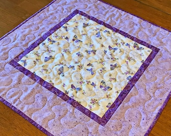 Purple Butterfly Table Topper, Quilted Butterfly Table Topper, Purple Table Topper, Butterfly Decor, Butterfly Table Quilt