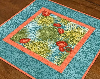 Teal Floral Table Topper, Teal and Coral Quilted Topper, Quilted Spring Table Topper, Mums Floral Table Topper