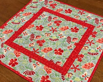 Spring Floral Table Topper, Quilted Spring Table Topper,  Butterfly Table Topper, Aqua Blue and Red Table Topper, Spring Table Decor,