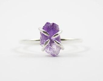 Raw Amethyst Mineral Ring (Polished Silver) - raw gemstone ring - sterling silver - ooak - February birthstone - birthstone jewellery