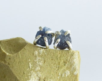 Raw Blue Sapphire Mineral Studs - raw gemstone earrings - sterling silver - one of a kind