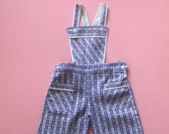 70f6b9996dd Toto overalls Lilac  Vintage 1970s telsalda plaid dungarees with white  piping