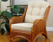 Jam Lounge ArmChair Natural Rattan Wicker Handmade with Cushions, Colonial