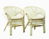 Set of 2 Pelangi Rattan Wicker Dining Arm Chairs Handmade, White Wash