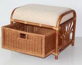 Krit Handmade Rattan Wicker Ottoman Footstool Pouf w Basket w Cushion, Colonial