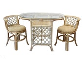 Natural Rattan Wicker Borneo Compact Dining Set Table with Glass Top 2 Chairs White Wash Handmade