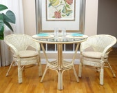 Pelangi Rattan Wicker Dining Set of Round Table Glass Top 2 Arm Chairs, White Wash
