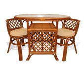 Natural Rattan Wicker Furniture Borneo Compact Dining Set Table with Glass Top 2 Chairs Colonial Handmade