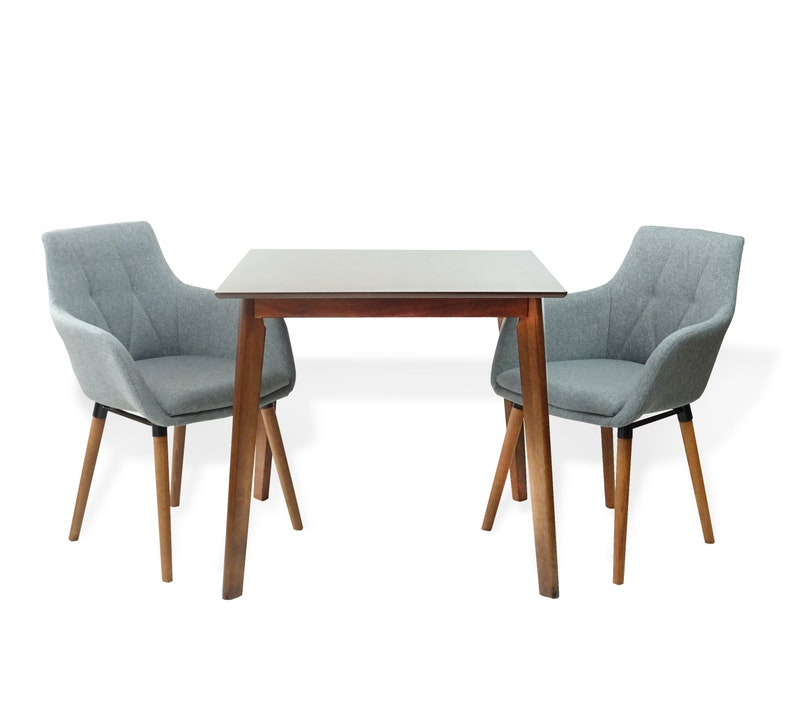 Modern Set of 3 Dining Kitchen Square Wooden Table with 2 Alba Armchairs Gray Color SK New Intwriors