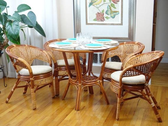 Colonial Pelangi Rattan Wicker Dining Arm Chairs Handmade