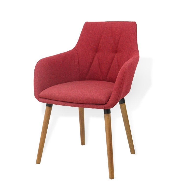 Set of 4 Dining Alba Armchairs Wooden Legs Red SK New Interior