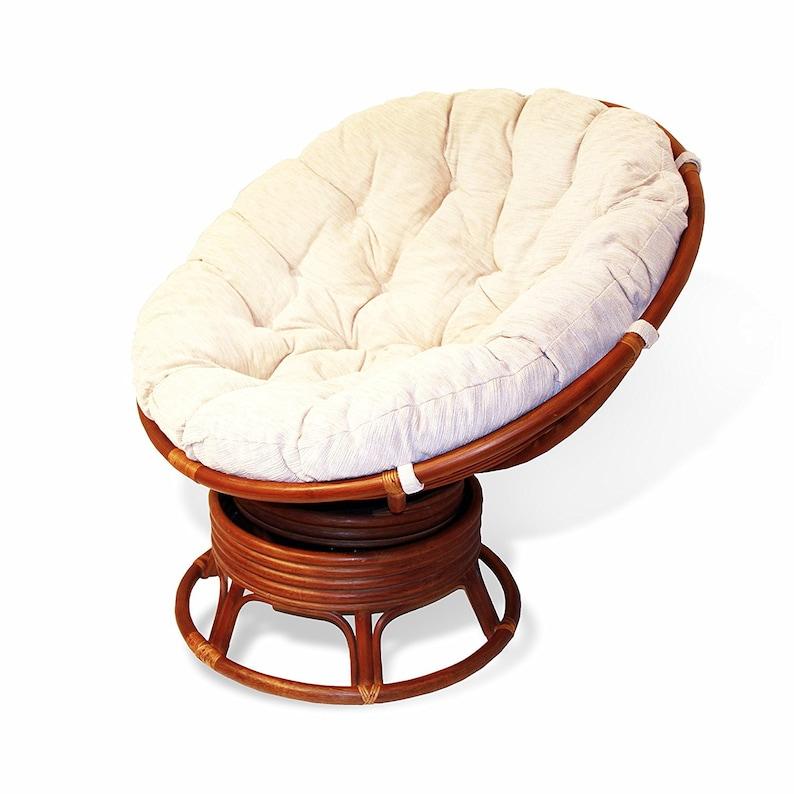 Pivotant CrèmeColonial Bascule Chaise Avec En Papasan Ronde Naturelles Rotin Coussin Osier Nw0k8nOPX