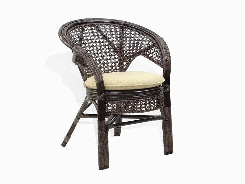 Pelangi Rattan Wicker Dining Arm Chairs Handmade Dark Brown