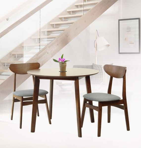 Excellent Modern Set Of 3 Dining Kitchen Round Table And 2 Yumiko Side Chairs Solid Wood W Padded Seat Medium Brown Machost Co Dining Chair Design Ideas Machostcouk