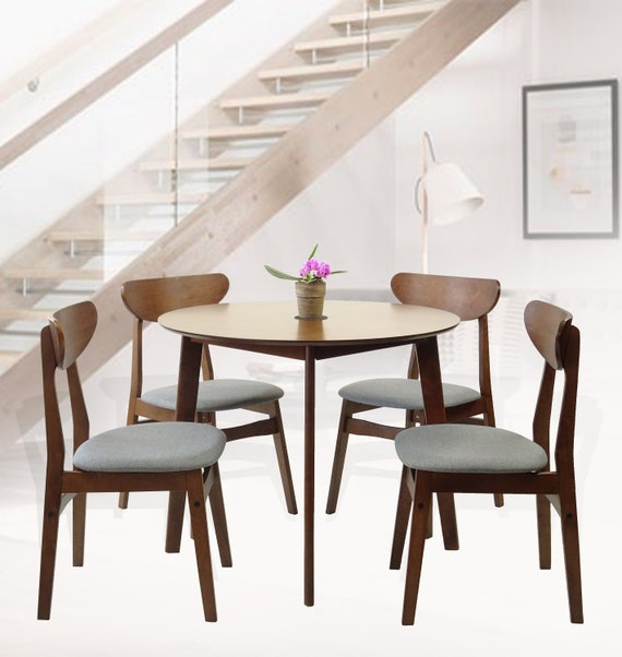 Fabulous Modern Set Of 5 Dining Kitchen Round Table And 4 Yumiko Side Chairs Solid Wood W Padded Seat Medium Brown Machost Co Dining Chair Design Ideas Machostcouk