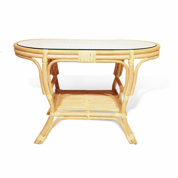 Pelangi Natural Rattan Wicker Handmade Oval Coffee Table with Glass Top, White Wash