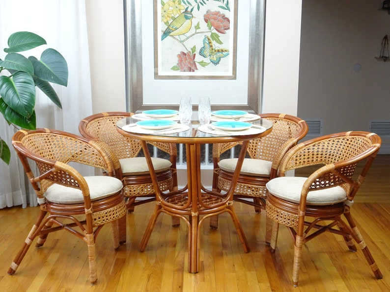 Pelangi Rattan Wicker Dining Set Of 5 Round Table Glass Top