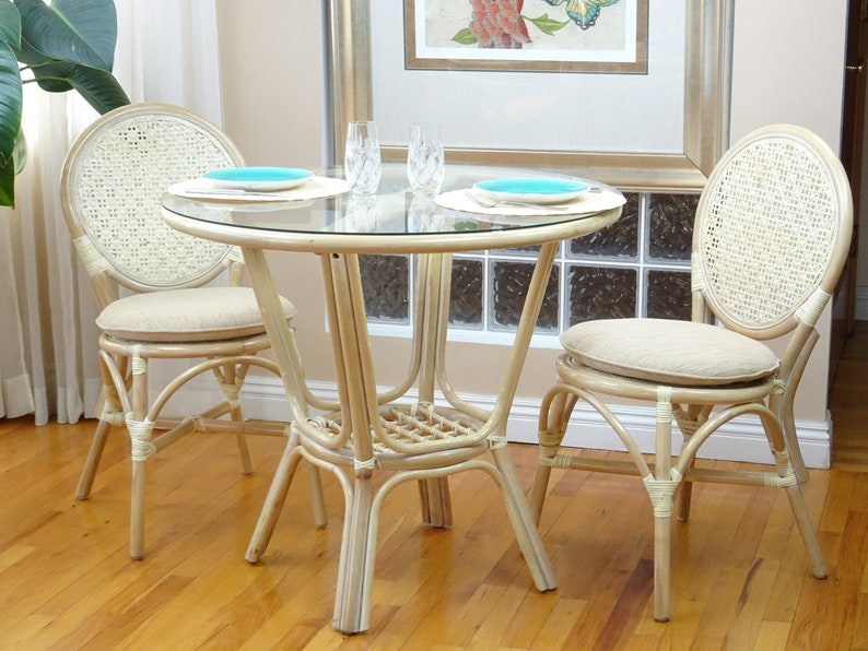 Rattan Wicker Dining Set Of 2 Denver Side Chairs And Round Table Glass Top,  White Wash