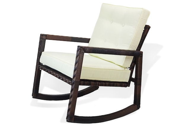 Cool Patio Resin Outdoor Rattan Wicker Garden Rocking Chair W Cushion Dark Brown Color Squirreltailoven Fun Painted Chair Ideas Images Squirreltailovenorg