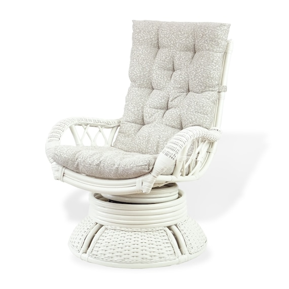 Alexa Ottoman White Color with Cushion Natural Rattan Wicker Handmade Design