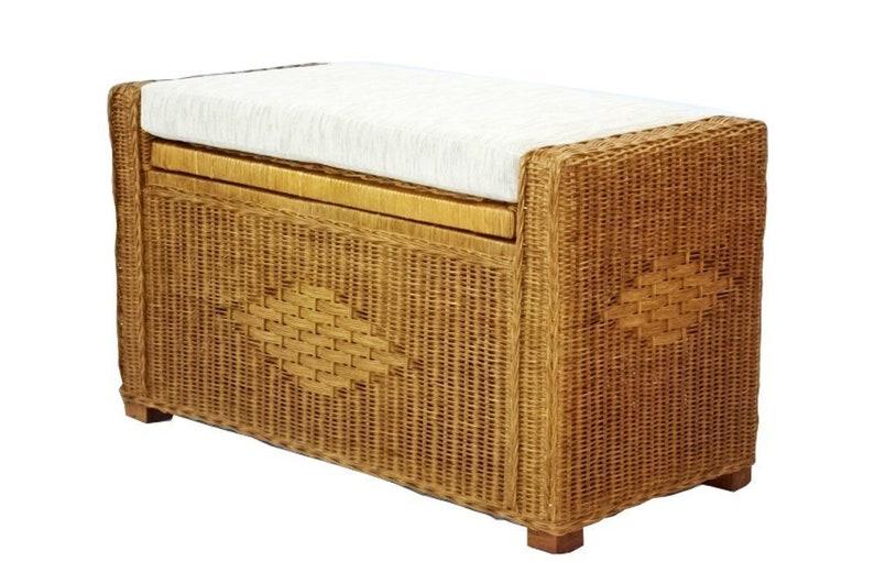 Bruno Handmade 32 Inch Rattan Wicker Organizer Ottoman Chest Storage  w/Cushion, Colonial
