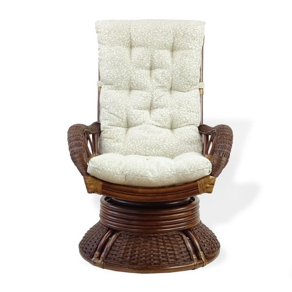 Awe Inspiring Rattan Wicker Swivel Rocking Armchair Alexa Dark Walnut Color Natural Handmade Design With Cushion Theyellowbook Wood Chair Design Ideas Theyellowbookinfo