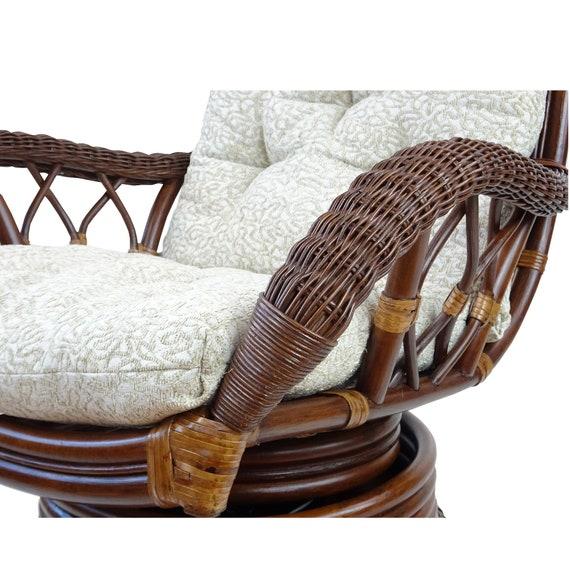 Groovy Rattan Wicker Swivel Rocking Armchair Alexa Dark Walnut Color Natural Handmade Design With Cushion Theyellowbook Wood Chair Design Ideas Theyellowbookinfo