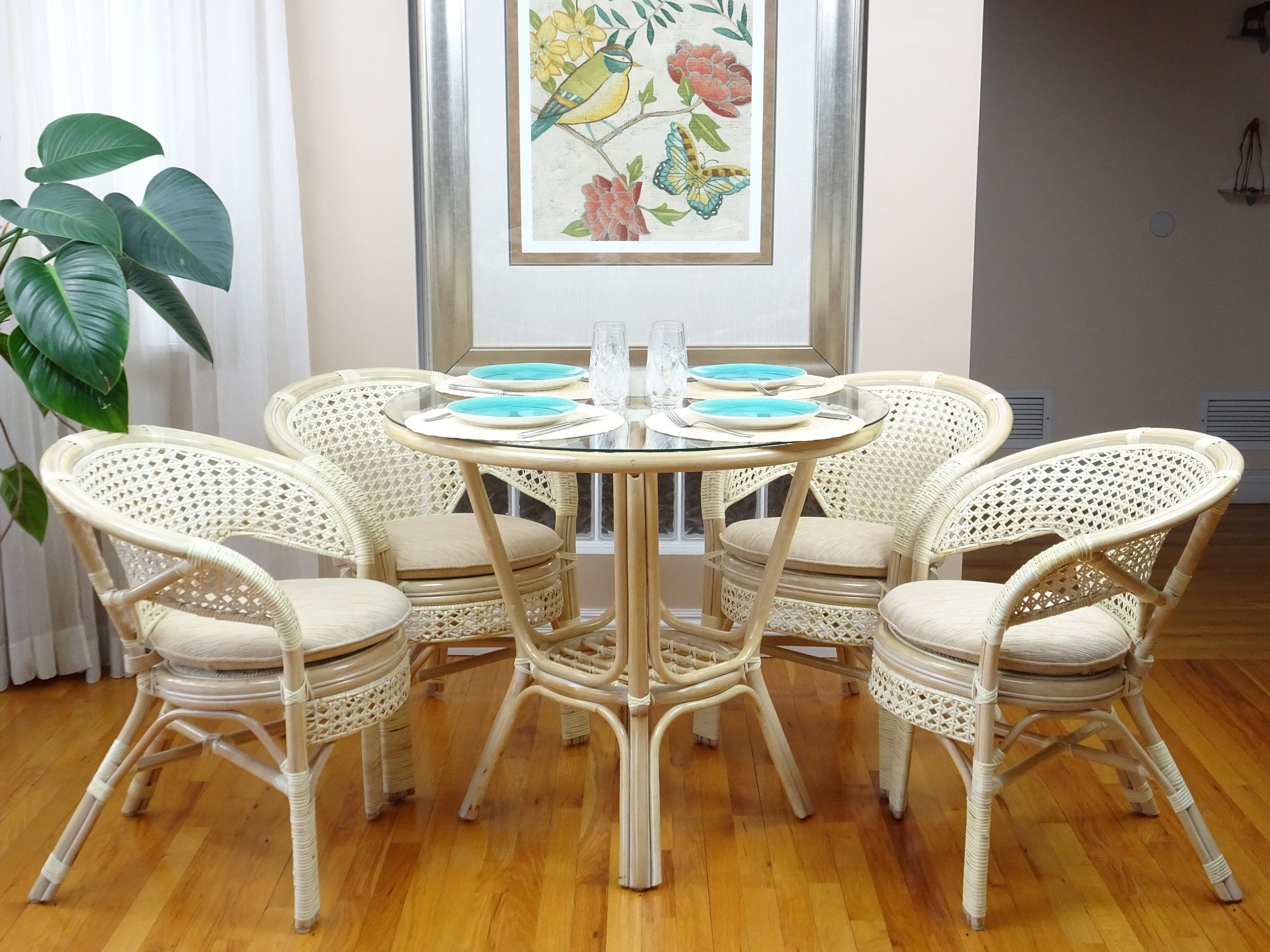 Pelangi Rattan Wicker Dining Set Of Round Table Glass Top 4