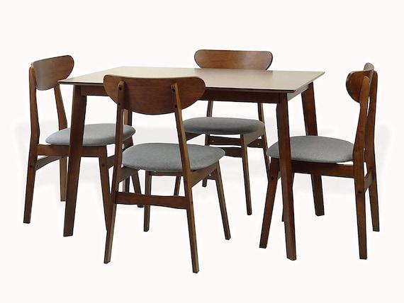 Yumiko Rectangular Dining Kitchen Table Modern Wood Medium Brown