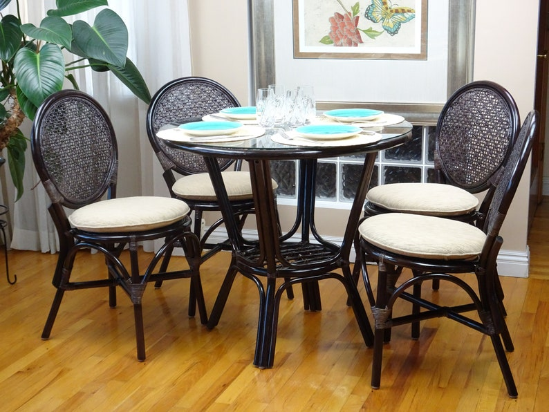 Rattan Wicker Dining Set Of 4 Denver Side Chairs And Round Table Glass Top,  Dark Brown