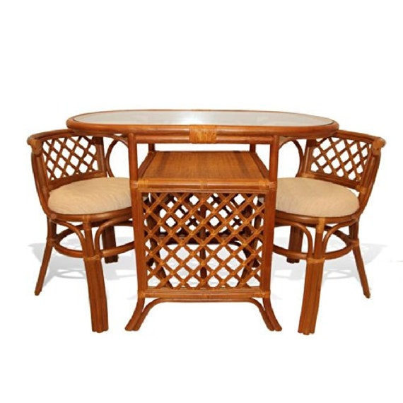 Natural Rattan Wicker Furniture Borneo Compact Dining Set Etsy