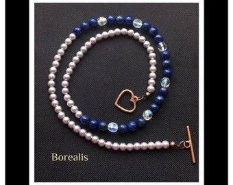 Lapis necklace and Pearls of Bohemia