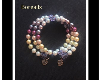 Spring bracelet harmonic Memory Wire spiral pearls of Bohemia