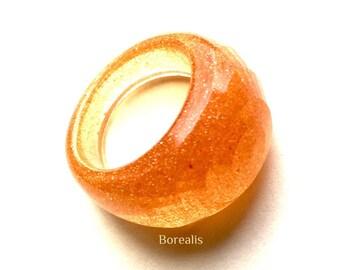 Resin Ring size M effect Orange Boho Chic 19 mm Cocktail diameter