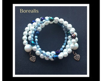 Spring bracelet harmonic Memory Wire spiral pearls of Bohemia and Pinch