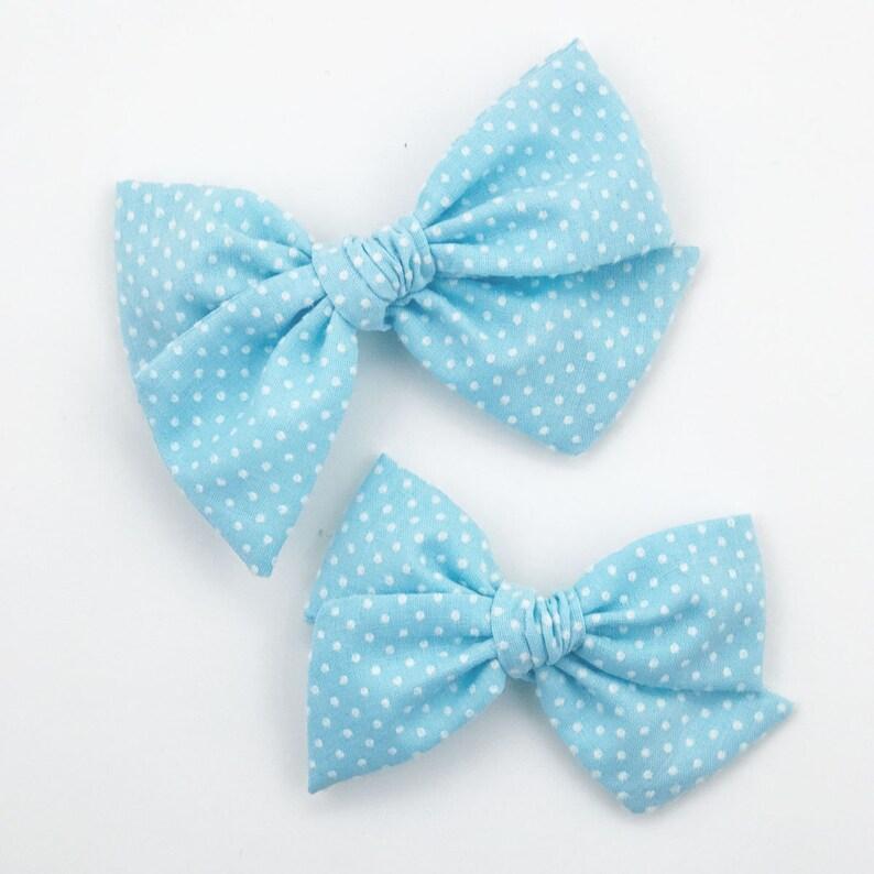 ChArLoTtE HaNd-TiEd BoW Blue Raspberry Vintage Flocked Swiss Dot