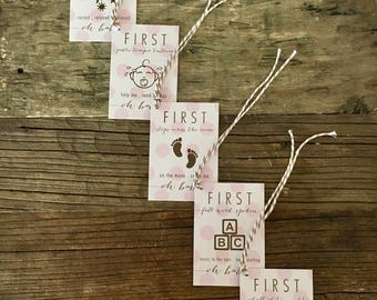Oh Baby! Firsts (Pink) . Wine Tags . FREE SHIPPING . Baby Shower Gift . New Baby Gift