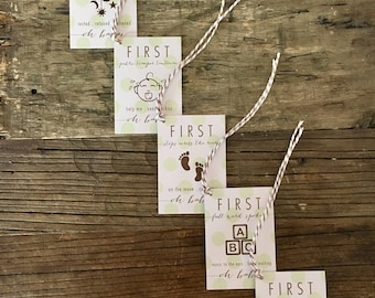 Oh Baby! Firsts (Green) . Wine Tags . FREE SHIPPING . Baby Shower Gift . New Baby Gift