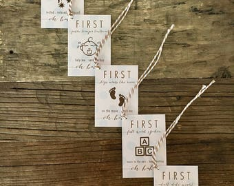 Oh Baby! Firsts (Blue) . Wine Tags . FREE SHIPPING . Baby Shower Gift . New Baby Gift
