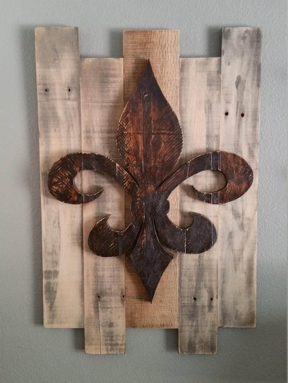 Fleur De Lis Wall Decor Reclaimed Wood Background French Etsy