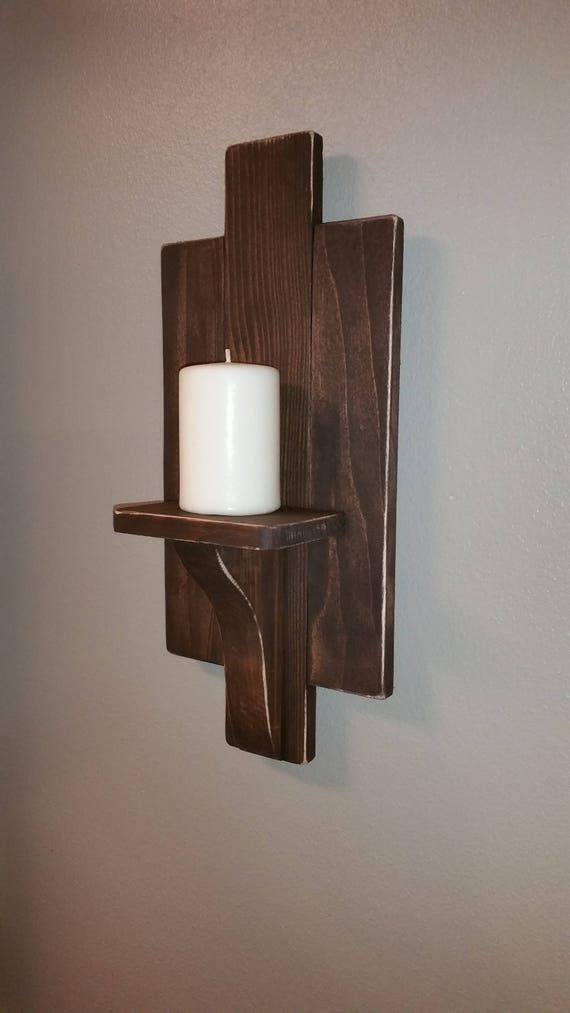 Sconces Wood Pair Candle Holder Espresso Stained Wood Sconces Handmade Wood Wall Decor Wall Hanging Candle Holder Wall Art
