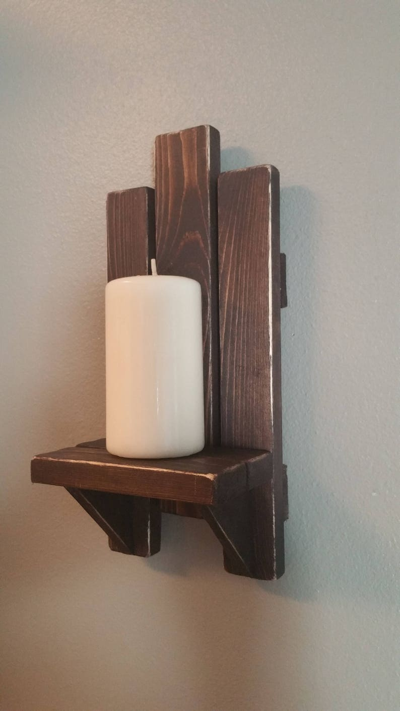 Sconces Wood Candle Holder Pair Handmade Wood Wall Decor Espresso Wood Sconces Wall Hanging Candle Holder Wall Art